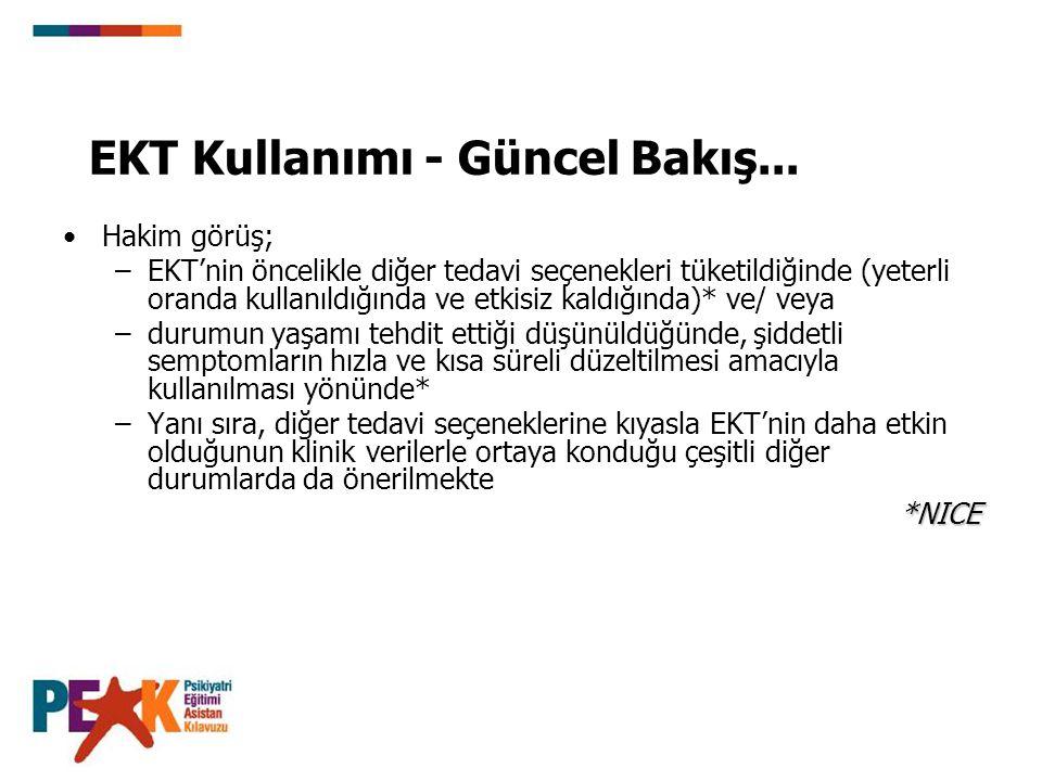 EKT Kullanımı - Güncel Bakış... Hakim görüş; –EKT'nin öncelikle diğer tedavi seçenekleri tüketildiğinde (yeterli oranda kullanıldığında ve etkisiz kal