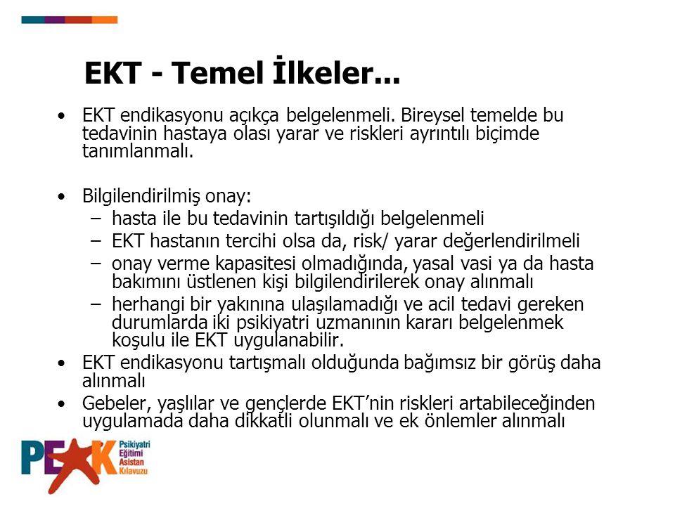 EKT - Temel İlkeler... EKT endikasyonu açıkça belgelenmeli. Bireysel temelde bu tedavinin hastaya olası yarar ve riskleri ayrıntılı biçimde tanımlanma