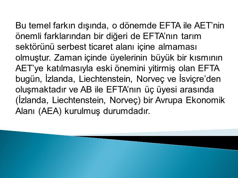 Bu temel farkın dışında, o dönemde EFTA ile AET'nin önemli farklarından bir diğeri de EFTA'nın tarım sektörünü serbest ticaret alanı içine almaması olmuştur.