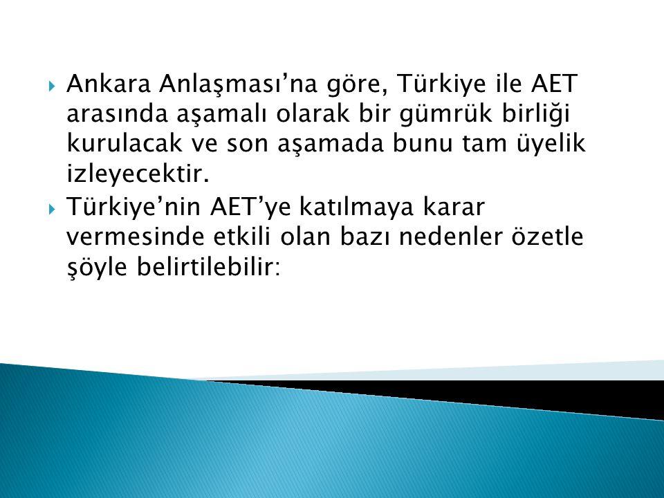  Ankara Anlaşması'na göre, Türkiye ile AET arasında aşamalı olarak bir gümrük birliği kurulacak ve son aşamada bunu tam üyelik izleyecektir.  Türkiy