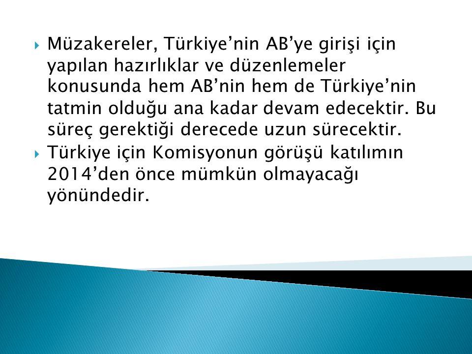  Müzakereler, Türkiye'nin AB'ye girişi için yapılan hazırlıklar ve düzenlemeler konusunda hem AB'nin hem de Türkiye'nin tatmin olduğu ana kadar devam edecektir.