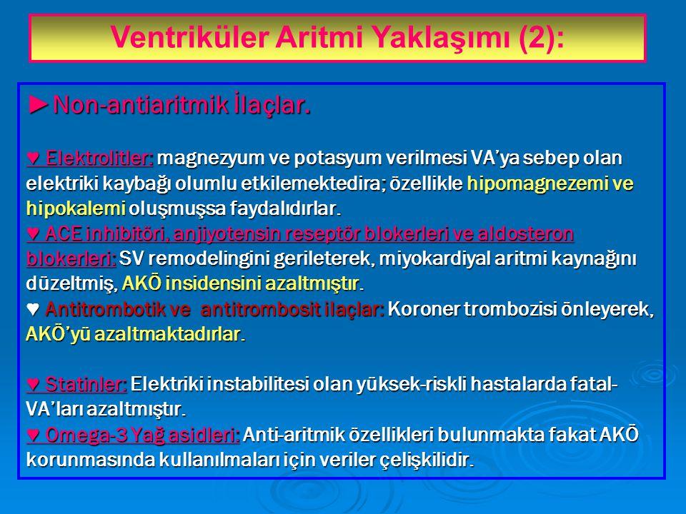 ► Non-antiaritmik İlaçlar.