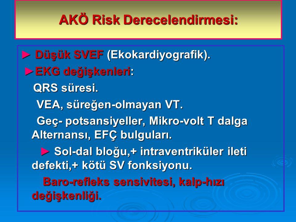 AKÖ Risk Derecelendirmesi: ► Düşük SVEF (Ekokardiyografik).