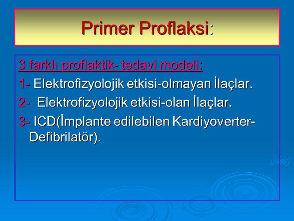 Primer Proflaksi: 3 farklı proflaktik- tedavi modeli: 1- Elektrofizyolojik etkisi-olmayan İlaçlar.