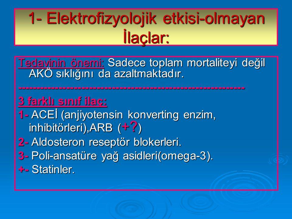 1- Elektrofizyolojik etkisi-olmayan İlaçlar: Tedavinin önemi: Sadece toplam mortaliteyi değil AKÖ sıklığını da azaltmaktadır.