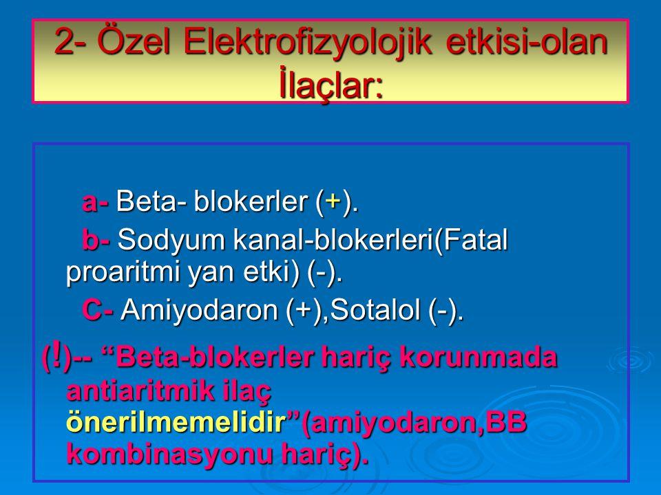 2- Özel Elektrofizyolojik etkisi-olan İlaçlar: a- Beta- blokerler (+).