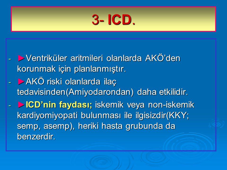 3- ICD.- ►Ventriküler aritmileri olanlarda AKÖ'den korunmak için planlanmıştır.