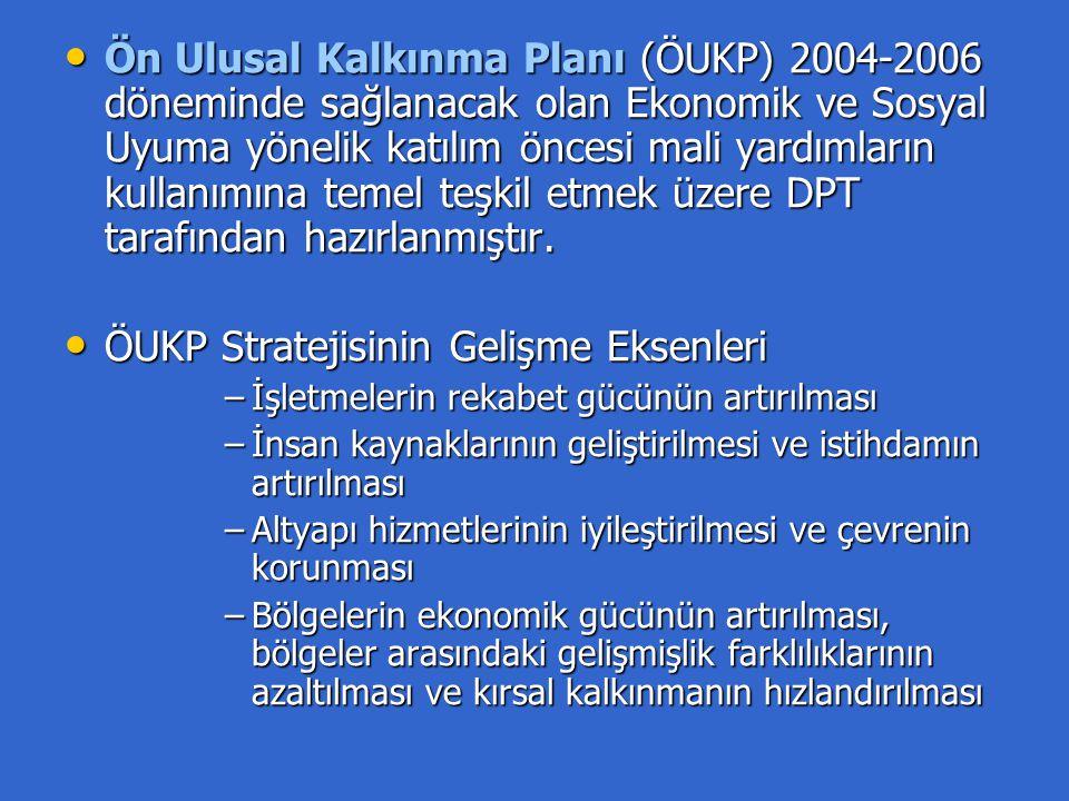 Ön Ulusal Kalkınma Planı (ÖUKP) 2004-2006 döneminde sağlanacak olan Ekonomik ve Sosyal Uyuma yönelik katılım öncesi mali yardımların kullanımına temel teşkil etmek üzere DPT tarafından hazırlanmıştır.