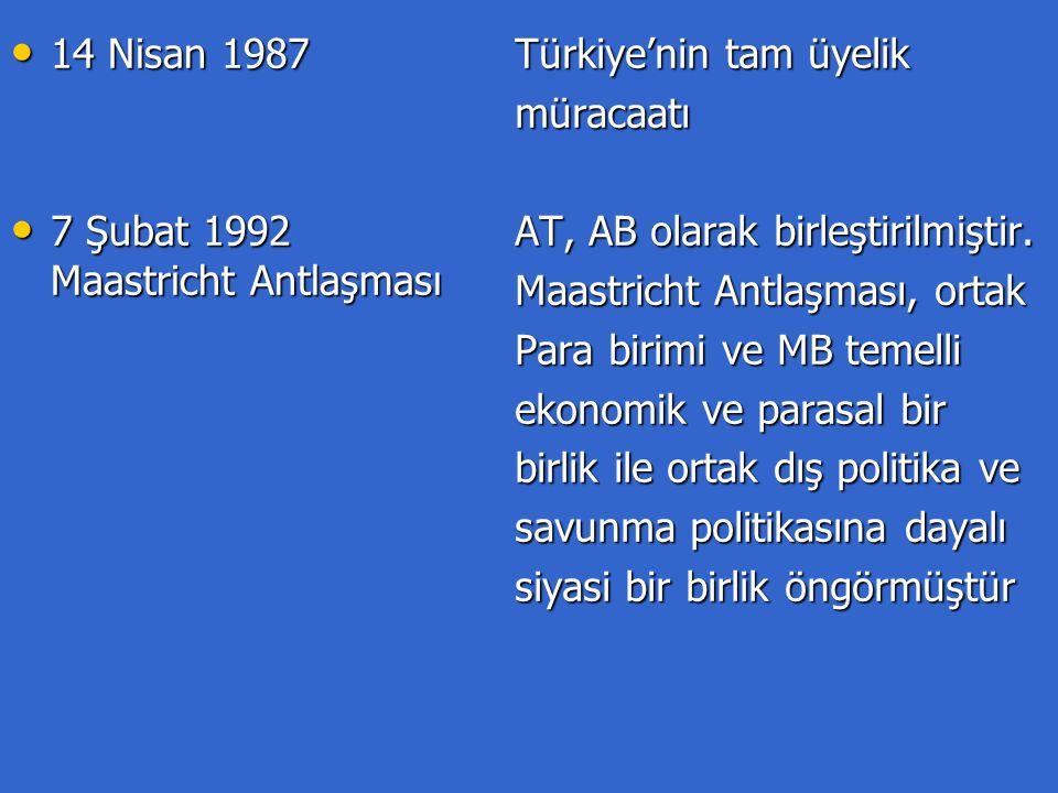 1 ocak 1993 1 ocak 1993 21-22 Haziran 1993 Kopenhag 21-22 Haziran 1993 Kopenhag 1 Ocak 1995 1 Ocak 1995 12'ler arasında Avrupa Tek Pazarı tamamlanmıştır (mal, sermaye,hizmet,insanlar) Aday ülkelerin şartlarını yerine getirmeleri halinde AB'ye tam üye olmalarını sağlayacak Kopenhag kriterleri tespit edilmiştir İsveç, Finlandiya ve Avusturya AB'ye tam üye olması