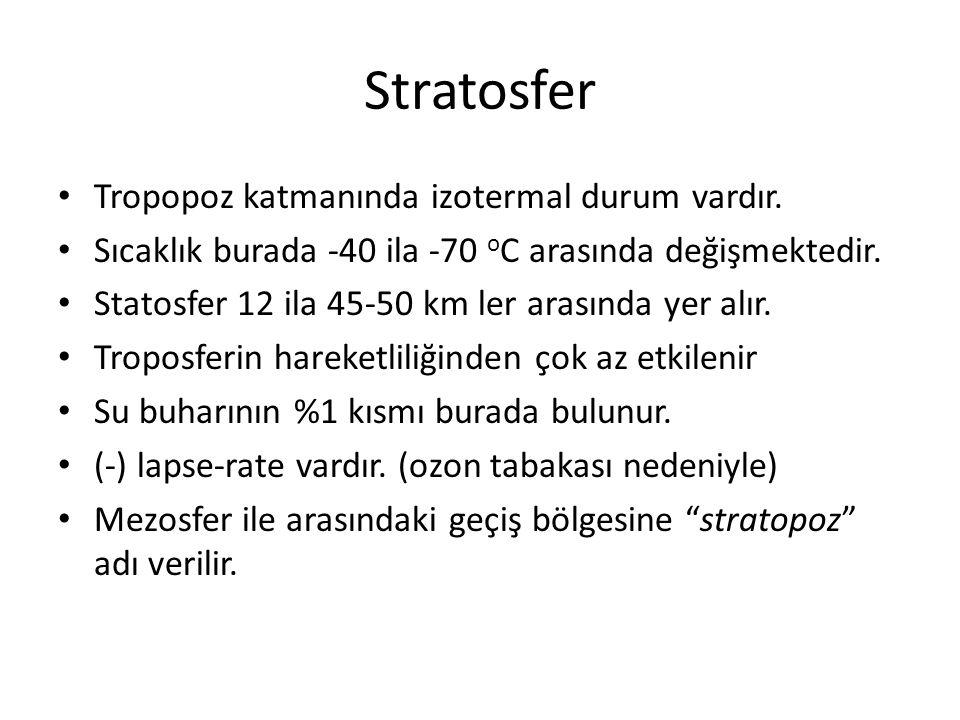 Stratosfer Tropopoz katmanında izotermal durum vardır. Sıcaklık burada -40 ila -70 o C arasında değişmektedir. Statosfer 12 ila 45-50 km ler arasında