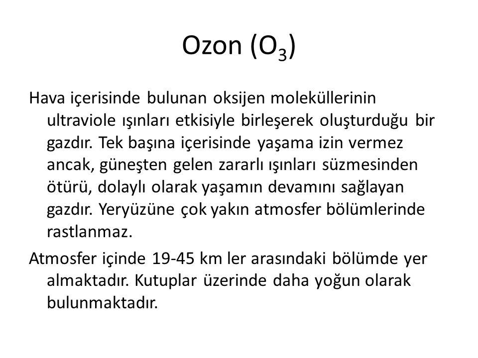 Ozon (O 3 ) Hava içerisinde bulunan oksijen moleküllerinin ultraviole ışınları etkisiyle birleşerek oluşturduğu bir gazdır. Tek başına içerisinde yaşa