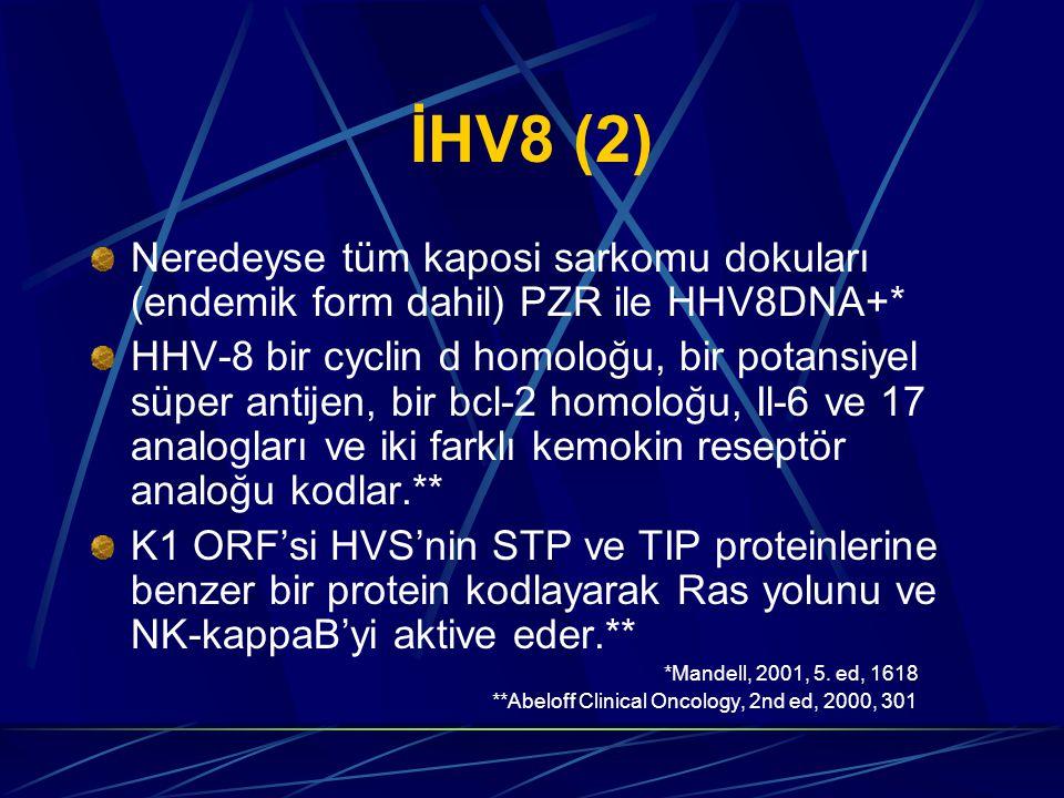 İHV8 (2) Neredeyse tüm kaposi sarkomu dokuları (endemik form dahil) PZR ile HHV8DNA+* HHV-8 bir cyclin d homoloğu, bir potansiyel süper antijen, bir bcl-2 homoloğu, Il-6 ve 17 analogları ve iki farklı kemokin reseptör analoğu kodlar.** K1 ORF'si HVS'nin STP ve TIP proteinlerine benzer bir protein kodlayarak Ras yolunu ve NK-kappaB'yi aktive eder.** *Mandell, 2001, 5.