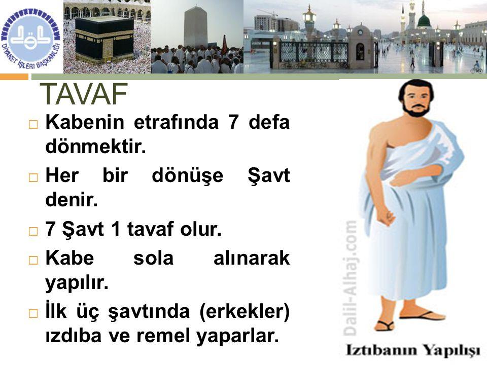 TAVAF  Kabenin etrafında 7 defa dönmektir.  Her bir dönüşe Şavt denir.  7 Şavt 1 tavaf olur.  Kabe sola alınarak yapılır.  İlk üç şavtında (erkek