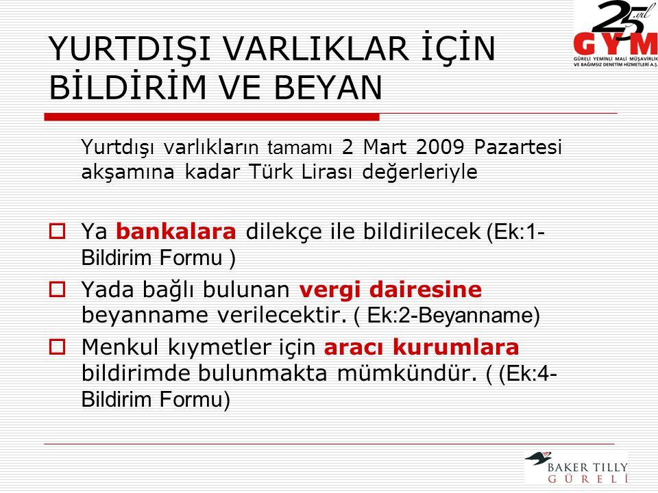 YURTDIŞI VARLIKLAR İÇİN BİLDİRİM VE BEYAN Yurtdışı varlıklar ın tamamı 2 Mart 2009 Pazartesi akşamına kadar Türk Lirası değerleriyle  Ya bankalara dilekçe ile bildirilecek (Ek:1- Bildirim Formu )  Yada bağlı bulunan vergi dairesine beyanname verilecektir.
