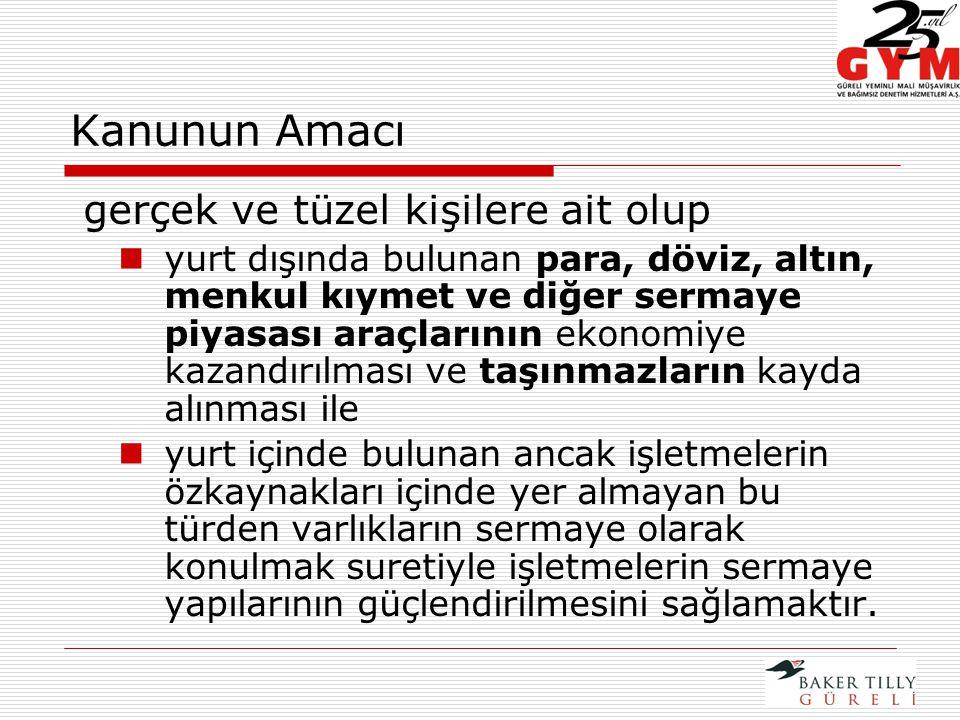 YURT İÇİNDEKİ VARLIKLARIN DEFTERLERE KAYDEDİLMESİ  Türkiye'de bulunan; ancak, 1/10/2008 tarihi itibarıyla gelir veya kurumlar vergisi mükelleflerince yasal defter kayıtlarında işletmelerin özkaynakları arasında yer almayan varlıklarda; Vergi Usul Kanunu uyarınca defter tutma yükümlülüğü bulunan mükelleflerin söz konusu varlıkları yasal defterlere kaydetmeleri zorunludur.