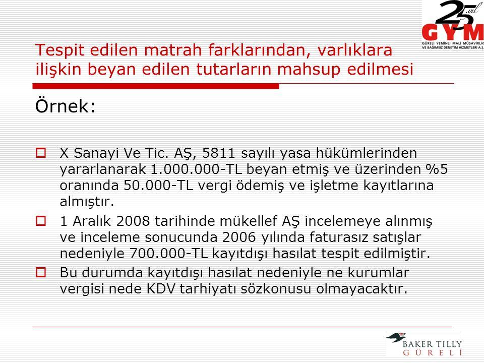 Örnek:  X Sanayi Ve Tic.