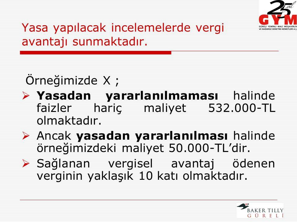 Örneğimizde X ;  Yasadan yararlanılmaması halinde faizler hariç maliyet 532.000-TL olmaktadır.