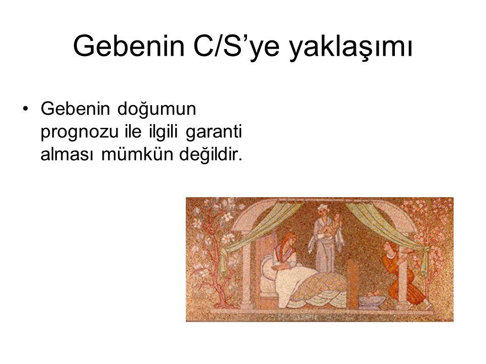 Gebenin C/S'ye yaklaşımı Gebenin doğumun prognozu ile ilgili garanti alması mümkün değildir.