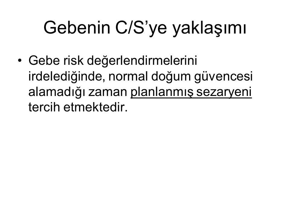 Gebenin C/S'ye yaklaşımı Gebe risk değerlendirmelerini irdelediğinde, normal doğum güvencesi alamadığı zaman planlanmış sezaryeni tercih etmektedir.