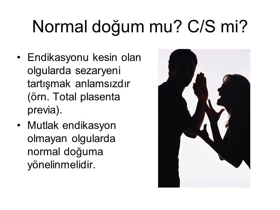 Normal doğum mu? C/S mi? Endikasyonu kesin olan olgularda sezaryeni tartışmak anlamsızdır (örn. Total plasenta previa). Mutlak endikasyon olmayan olgu
