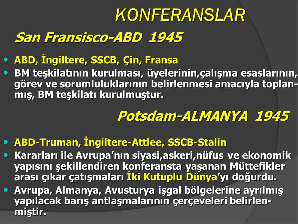 KONFERANSLAR Moskova-SSCB 1943 Moskova-SSCB 1943 ABD, İngiltere, SSCB, Çin ABD, İngiltere, SSCB, Çin Kalıcı barış için bir barış teşkilatının kurulmas