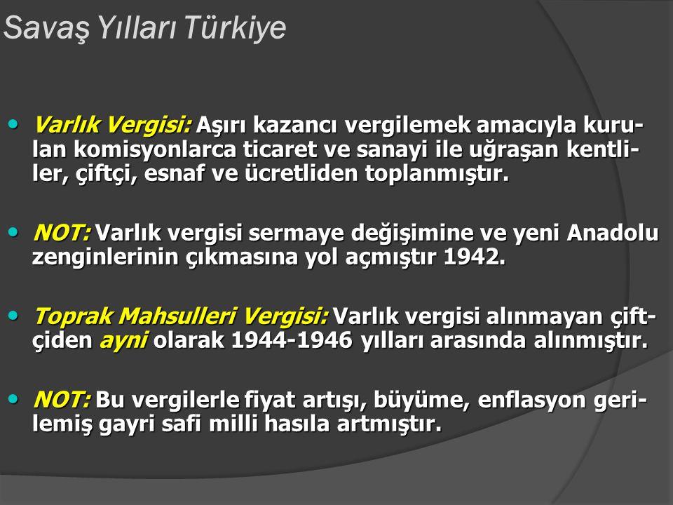 Savaş Yılları Türkiye Milli Korunma Kanunu: Hükümete üretim-dağıtım-tüke- tim ilişkilerini kontrol yetkisi veren kanun. Hükümeteiş- letmelere el koyma