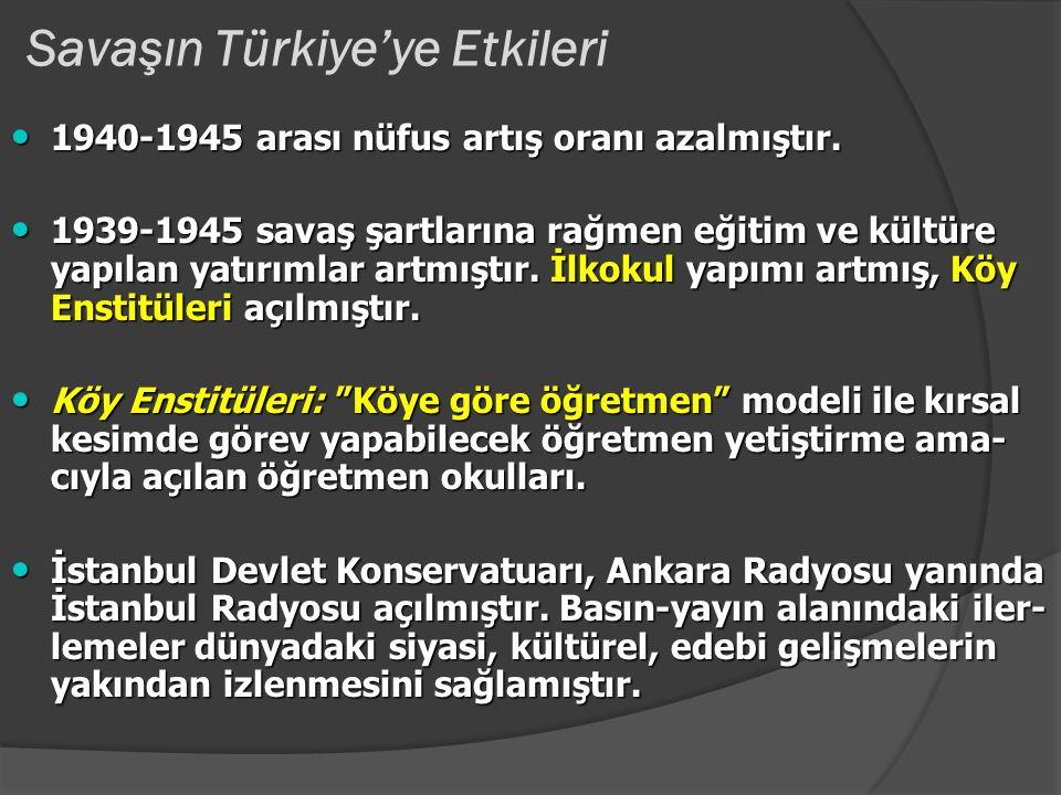 """Savaşın Türkiye'ye Etkileri Savaş yılları izlenen ekonomi politikaları;""""Büyüme ve gelişmeyi hızlandırma hedefinden ziyade mal darlığını hafifletme, fi"""