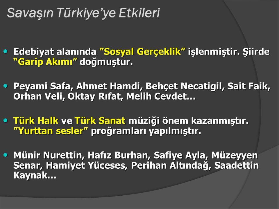Savaşın Türkiye'ye Etkileri 1940-1945 arası nüfus artış oranı azalmıştır. 1940-1945 arası nüfus artış oranı azalmıştır. 1939-1945 savaş şartlarına rağ