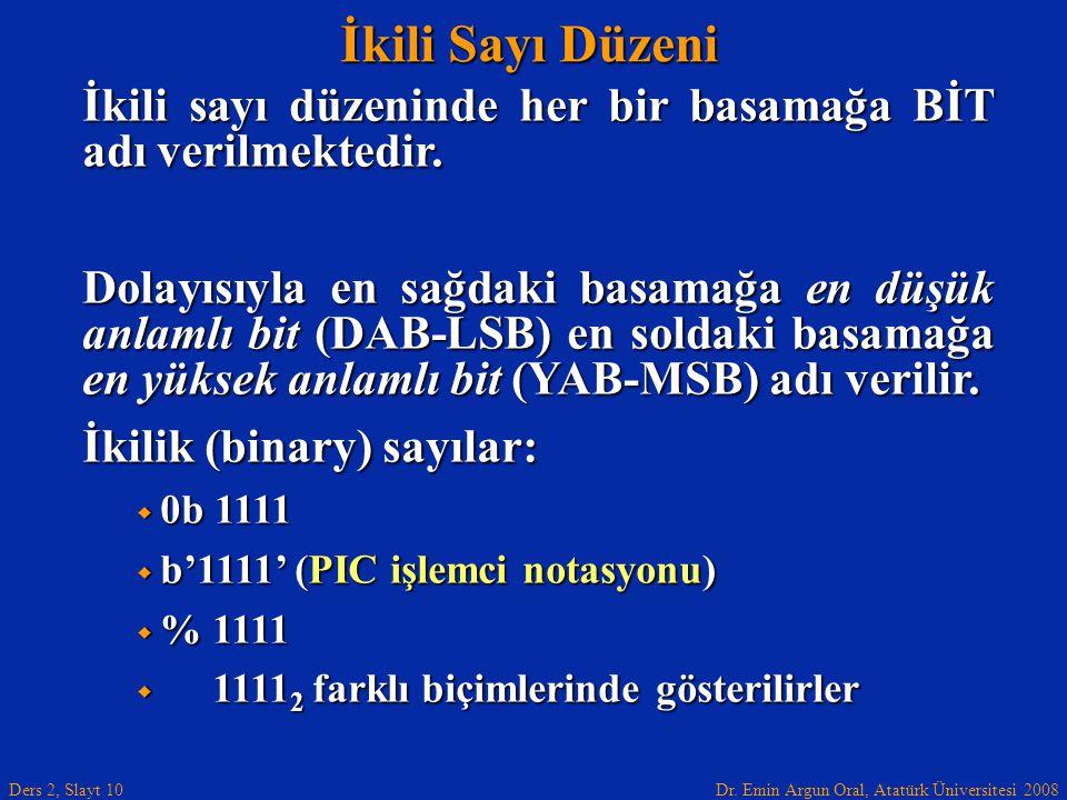Dr. Emin Argun Oral, Atatürk Üniversitesi 2008 Ders 2, Slayt 10 İkili Sayı Düzeni İkili sayı düzeninde her bir basamağa BİT adı verilmektedir. Dolayıs