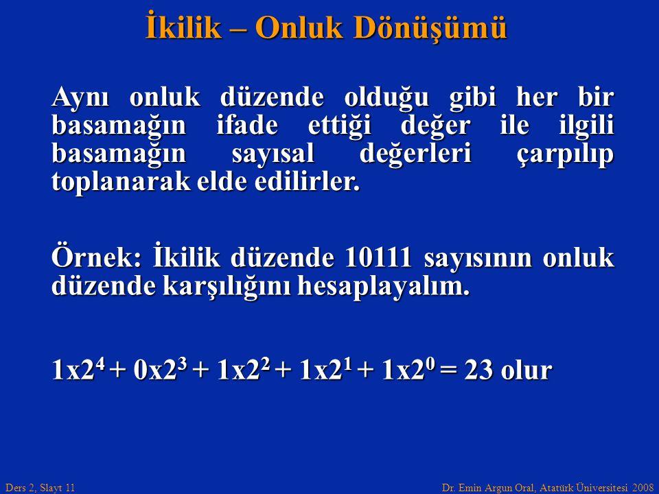 Dr. Emin Argun Oral, Atatürk Üniversitesi 2008 Ders 2, Slayt 11 İkilik – Onluk Dönüşümü Aynı onluk düzende olduğu gibi her bir basamağın ifade ettiği
