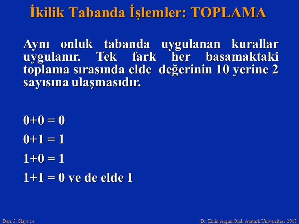 Dr. Emin Argun Oral, Atatürk Üniversitesi 2008 Ders 2, Slayt 14 İkilik Tabanda İşlemler: TOPLAMA Aynı onluk tabanda uygulanan kurallar uygulanır. Tek