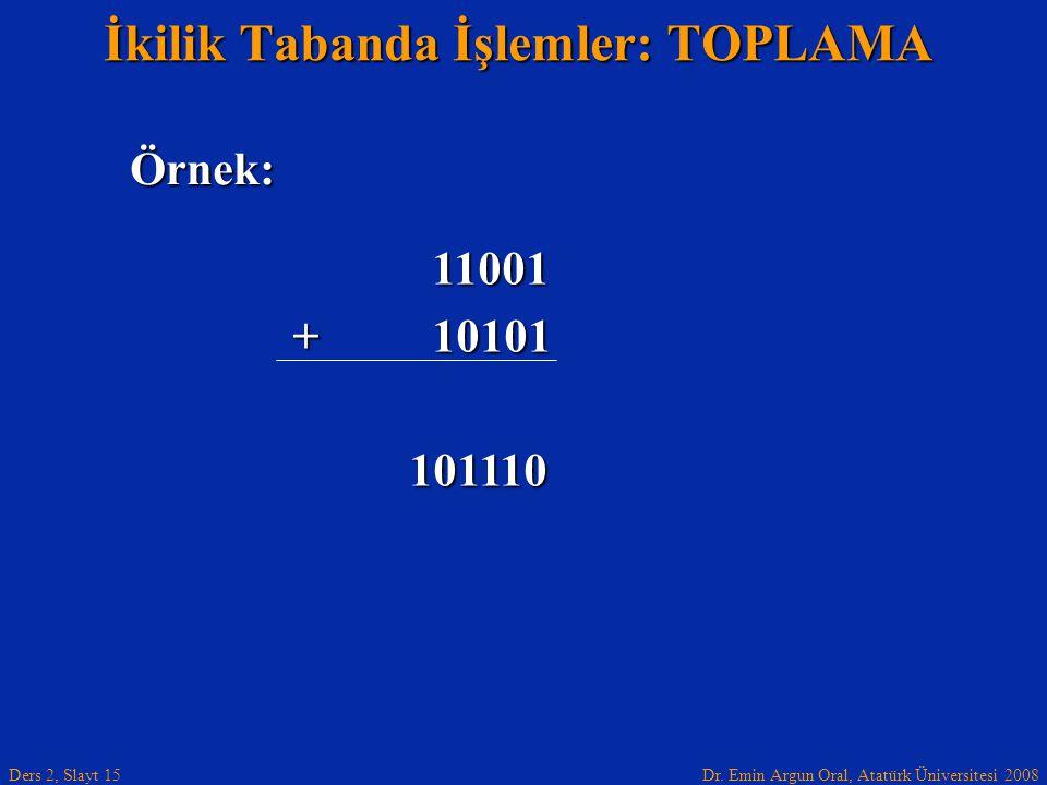 Dr. Emin Argun Oral, Atatürk Üniversitesi 2008 Ders 2, Slayt 15 İkilik Tabanda İşlemler: TOPLAMA Örnek: 11001 11001 + 10101 101110 101110