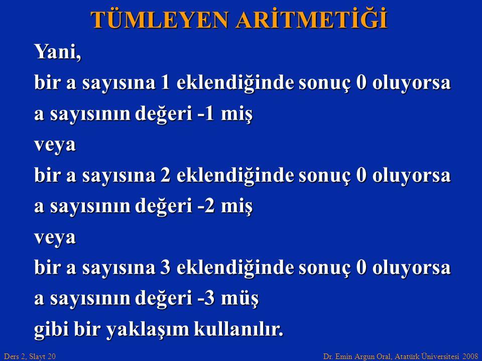 Dr. Emin Argun Oral, Atatürk Üniversitesi 2008 Ders 2, Slayt 20 TÜMLEYEN ARİTMETİĞİ Yani, bir a sayısına 1 eklendiğinde sonuç 0 oluyorsa a sayısının d