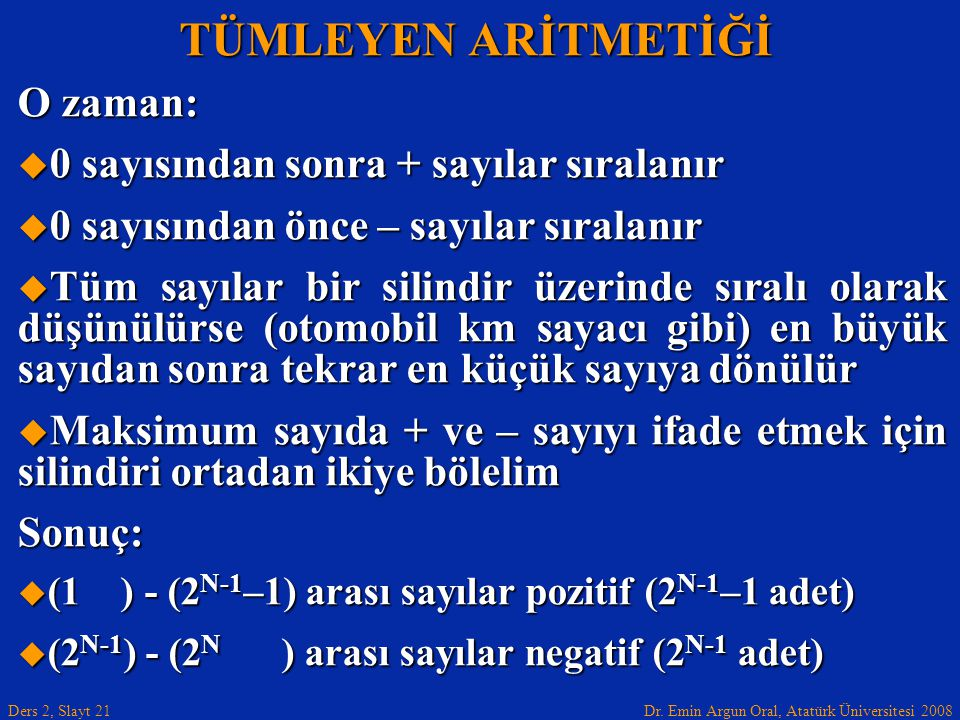 Dr. Emin Argun Oral, Atatürk Üniversitesi 2008 Ders 2, Slayt 21 TÜMLEYEN ARİTMETİĞİ O zaman:  0 sayısından sonra + sayılar sıralanır  0 sayısından ö