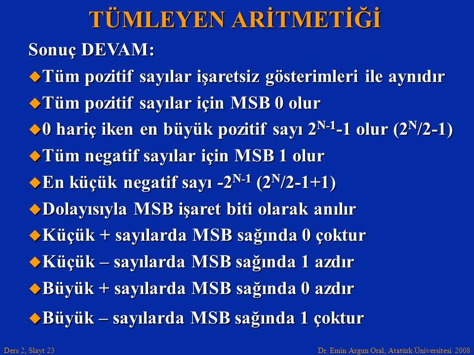 Dr. Emin Argun Oral, Atatürk Üniversitesi 2008 Ders 2, Slayt 23 TÜMLEYEN ARİTMETİĞİ Sonuç DEVAM:  Tüm pozitif sayılar işaretsiz gösterimleri ile aynı