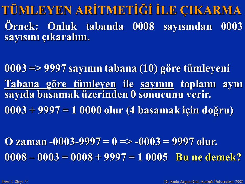 Dr. Emin Argun Oral, Atatürk Üniversitesi 2008 Ders 2, Slayt 27 TÜMLEYEN ARİTMETİĞİ İLE ÇIKARMA Örnek: Onluk tabanda 0008 sayısından 0003 sayısını çık