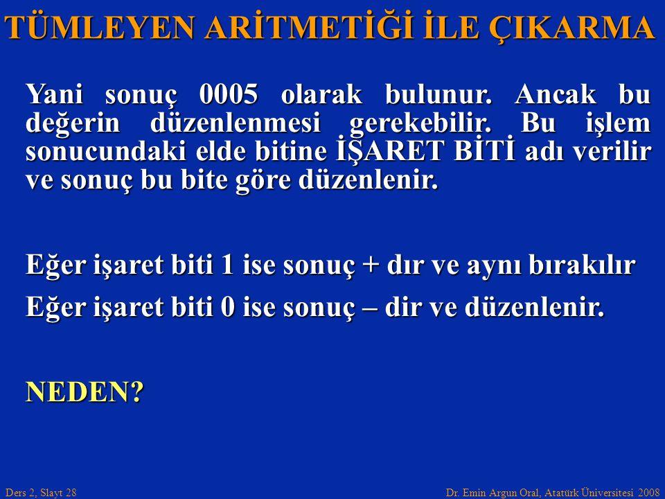 Dr. Emin Argun Oral, Atatürk Üniversitesi 2008 Ders 2, Slayt 28 TÜMLEYEN ARİTMETİĞİ İLE ÇIKARMA Yani sonuç 0005 olarak bulunur. Ancak bu değerin düzen