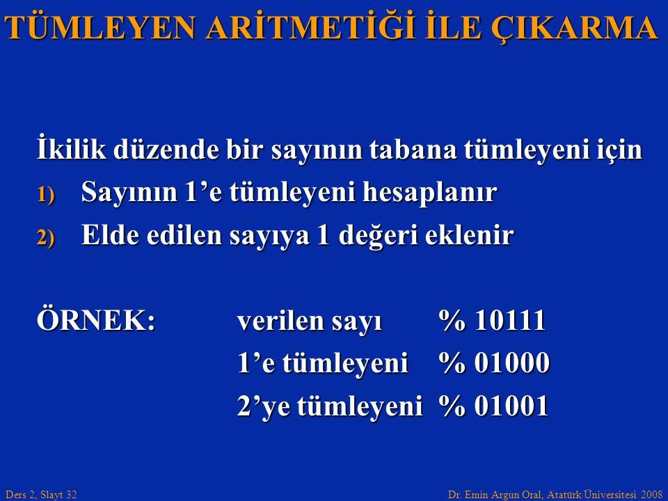 Dr. Emin Argun Oral, Atatürk Üniversitesi 2008 Ders 2, Slayt 32 TÜMLEYEN ARİTMETİĞİ İLE ÇIKARMA İkilik düzende bir sayının tabana tümleyeni için 1) Sa