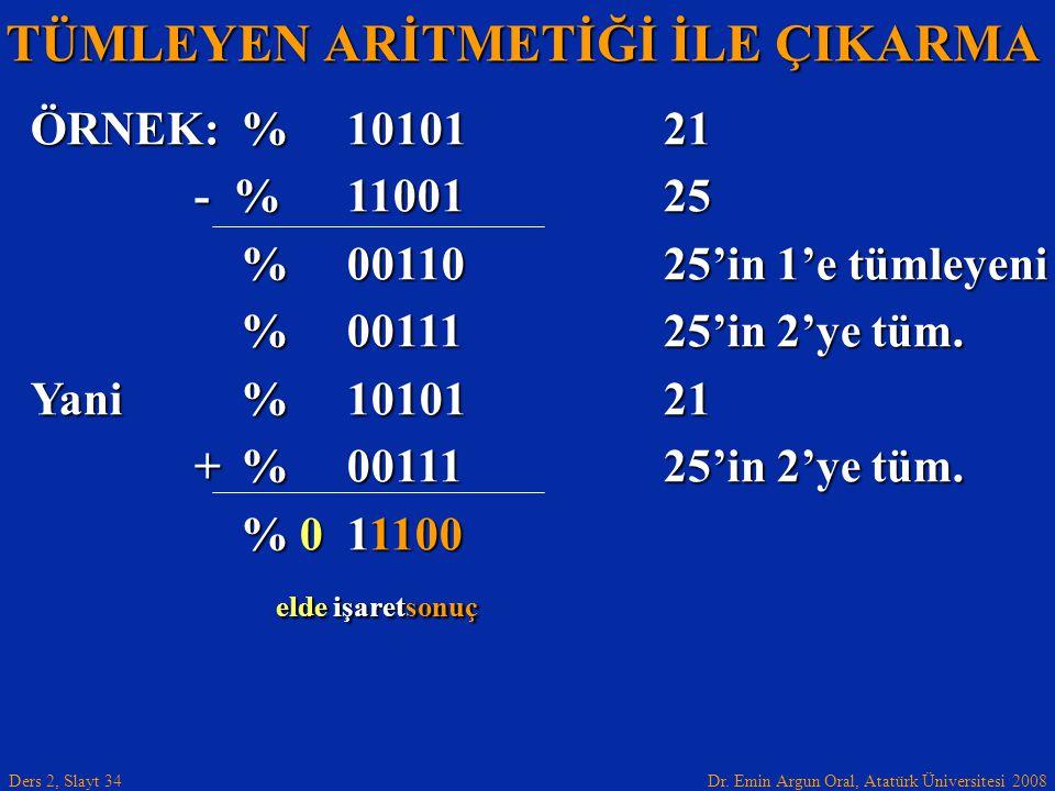 Dr. Emin Argun Oral, Atatürk Üniversitesi 2008 Ders 2, Slayt 34 TÜMLEYEN ARİTMETİĞİ İLE ÇIKARMA ÖRNEK:%1010121 - %1100125 - %1100125 %0011025'in 1'e t