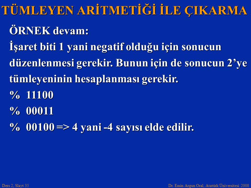 Dr. Emin Argun Oral, Atatürk Üniversitesi 2008 Ders 2, Slayt 35 TÜMLEYEN ARİTMETİĞİ İLE ÇIKARMA ÖRNEK devam: İşaret biti 1 yani negatif olduğu için so