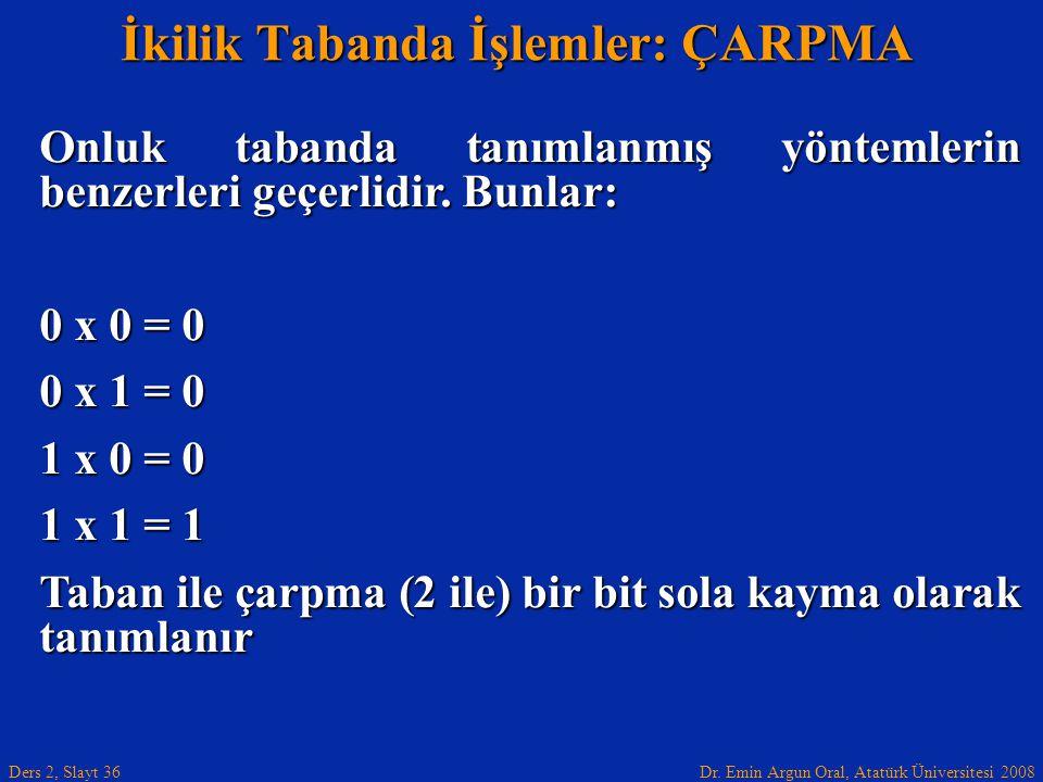 Dr. Emin Argun Oral, Atatürk Üniversitesi 2008 Ders 2, Slayt 36 İkilik Tabanda İşlemler: ÇARPMA Onluk tabanda tanımlanmış yöntemlerin benzerleri geçer