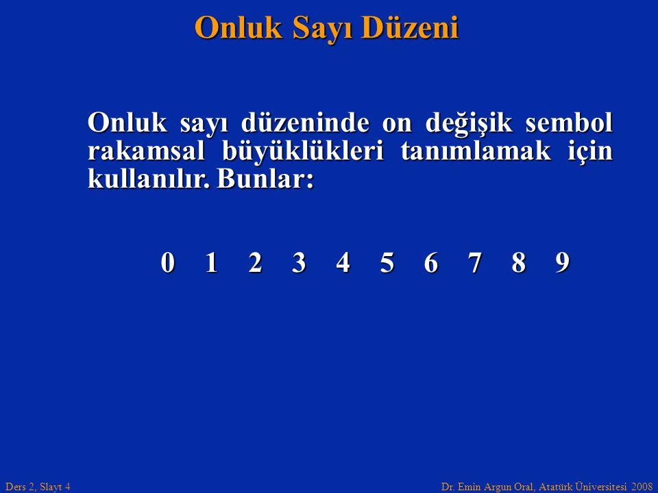Dr. Emin Argun Oral, Atatürk Üniversitesi 2008 Ders 2, Slayt 4 Onluk Sayı Düzeni Onluk sayı düzeninde on değişik sembol rakamsal büyüklükleri tanımlam