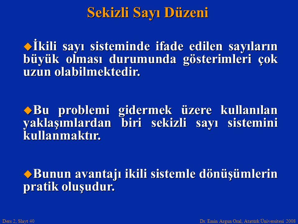Dr. Emin Argun Oral, Atatürk Üniversitesi 2008 Ders 2, Slayt 40 Sekizli Sayı Düzeni  İkili sayı sisteminde ifade edilen sayıların büyük olması durumu
