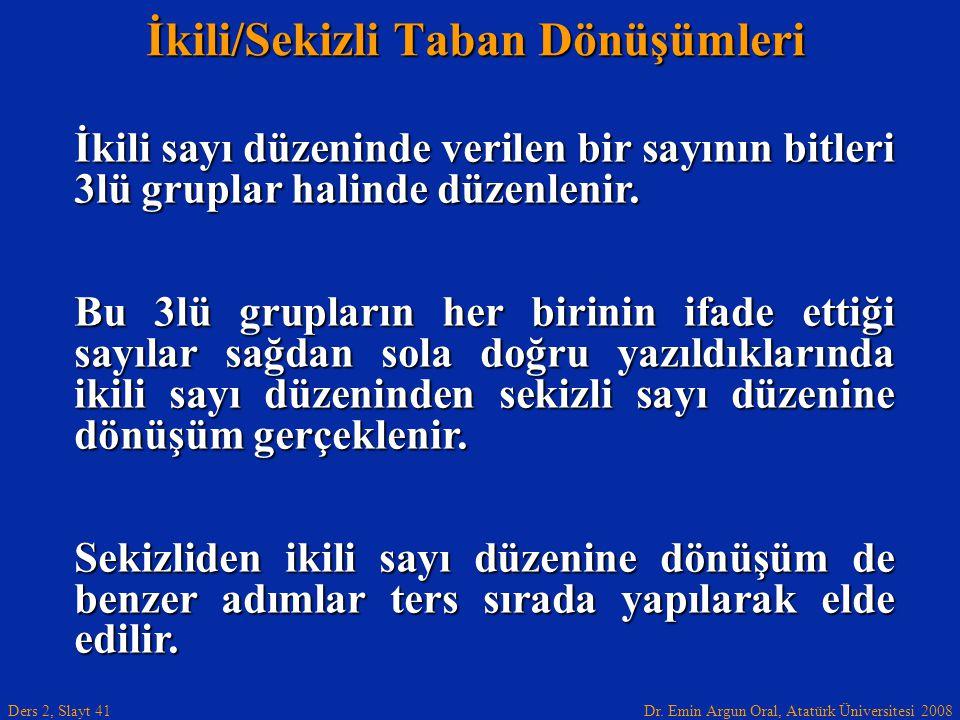 Dr. Emin Argun Oral, Atatürk Üniversitesi 2008 Ders 2, Slayt 41 İkili/Sekizli Taban Dönüşümleri İkili sayı düzeninde verilen bir sayının bitleri 3lü g