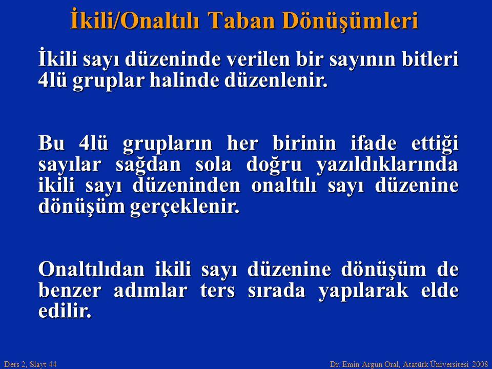 Dr. Emin Argun Oral, Atatürk Üniversitesi 2008 Ders 2, Slayt 44 İkili/Onaltılı Taban Dönüşümleri İkili sayı düzeninde verilen bir sayının bitleri 4lü