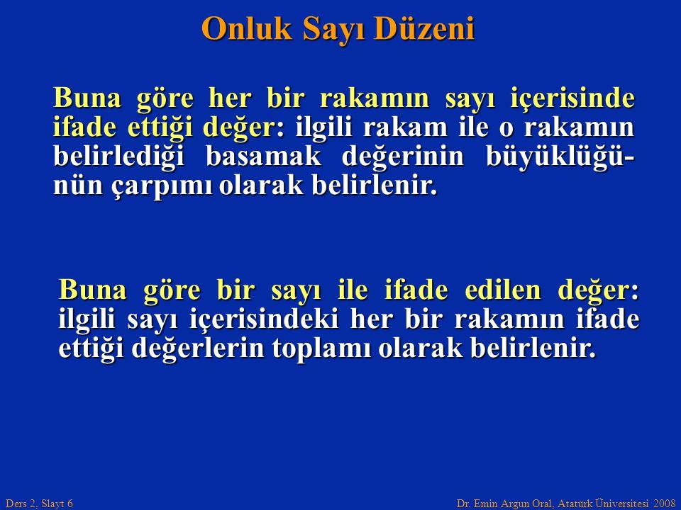 Dr. Emin Argun Oral, Atatürk Üniversitesi 2008 Ders 2, Slayt 6 Onluk Sayı Düzeni Buna göre her bir rakamın sayı içerisinde ifade ettiği değer: ilgili