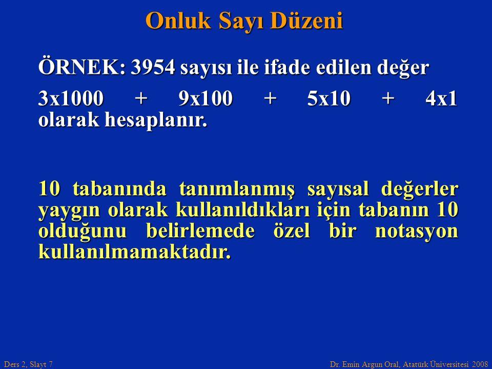Dr. Emin Argun Oral, Atatürk Üniversitesi 2008 Ders 2, Slayt 7 Onluk Sayı Düzeni ÖRNEK: 3954 sayısı ile ifade edilen değer 3x1000 + 9x100 + 5x10 + 4x1