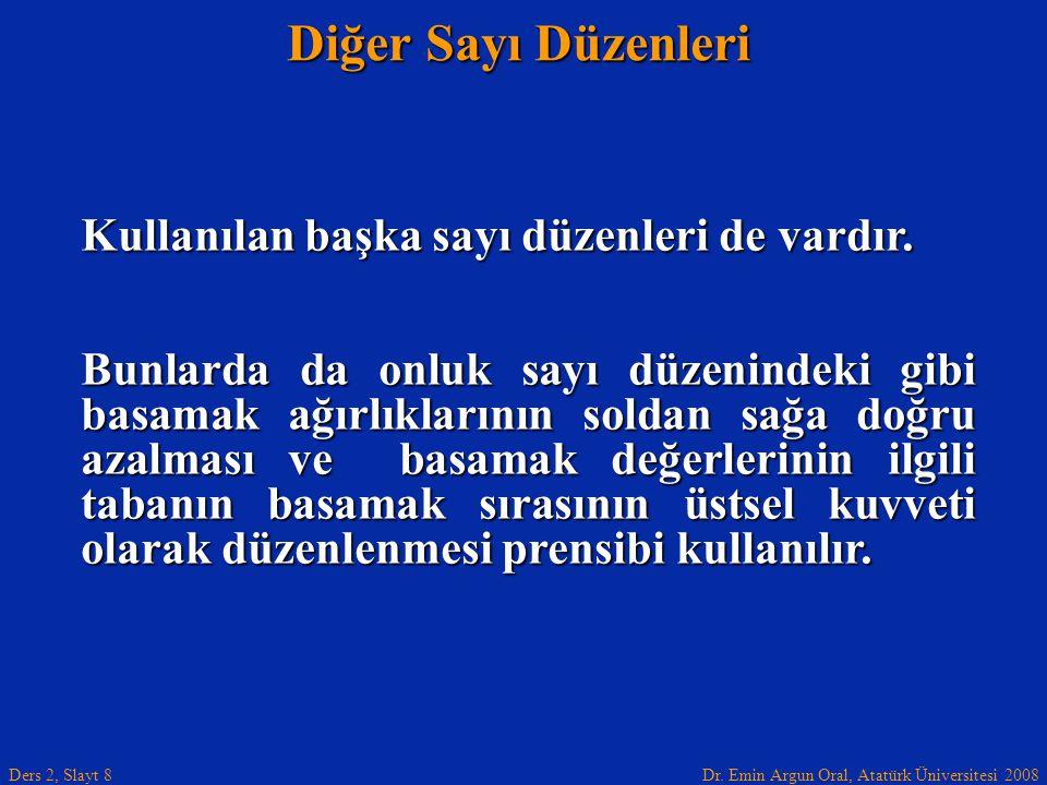 Dr. Emin Argun Oral, Atatürk Üniversitesi 2008 Ders 2, Slayt 8 Diğer Sayı Düzenleri Kullanılan başka sayı düzenleri de vardır. Bunlarda da onluk sayı