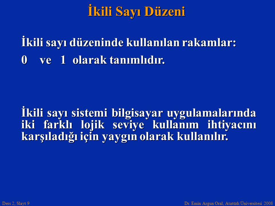 Dr. Emin Argun Oral, Atatürk Üniversitesi 2008 Ders 2, Slayt 9 İkili Sayı Düzeni İkili sayı düzeninde kullanılan rakamlar: 0 ve 1 olarak tanımlıdır. İ