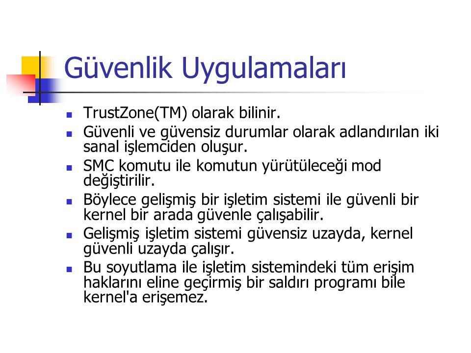 Güvenlik Uygulamaları TrustZone(TM) olarak bilinir.